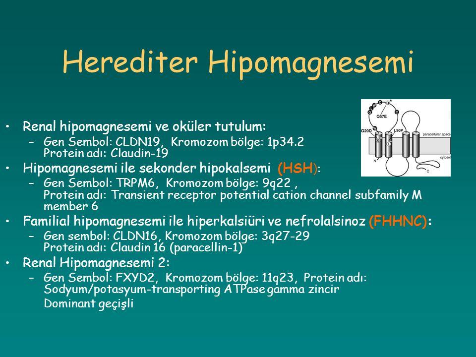Herediter Hipomagnesemi Renal hipomagnesemi ve oküler tutulum: –Gen Sembol: CLDN19, Kromozom bölge: 1p34.2 Protein adı: Claudin-19 Hipomagnesemi ile s