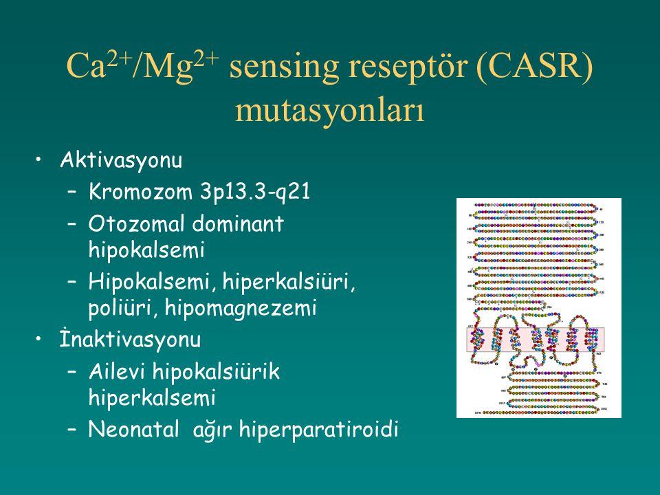 Ca 2+ /Mg 2+ sensing reseptör (CASR) mutasyonları Aktivasyonu –Kromozom 3p13.3-q21 –Otozomal dominant hipokalsemi –Hipokalsemi, hiperkalsiüri, poliüri