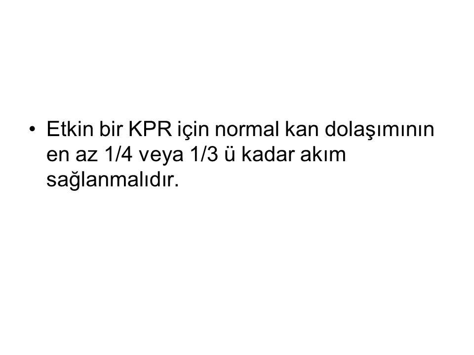 Etkin bir KPR için normal kan dolaşımının en az 1/4 veya 1/3 ü kadar akım sağlanmalıdır.