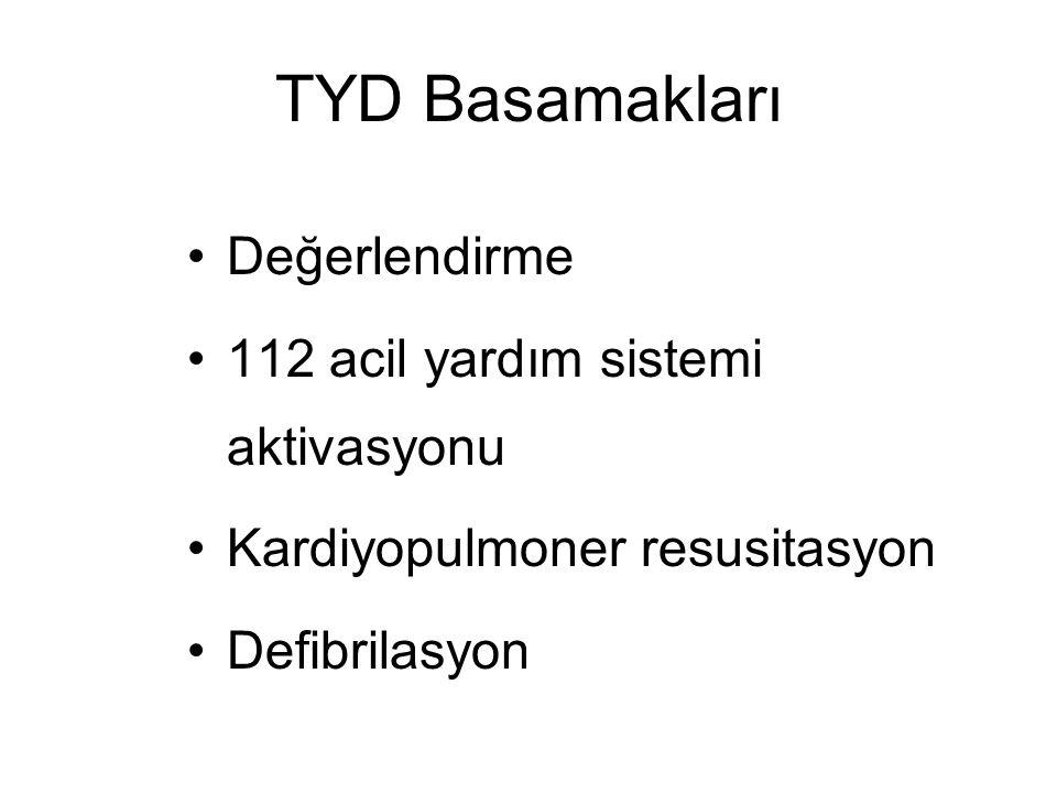 TYD Basamakları Değerlendirme 112 acil yardım sistemi aktivasyonu Kardiyopulmoner resusitasyon Defibrilasyon