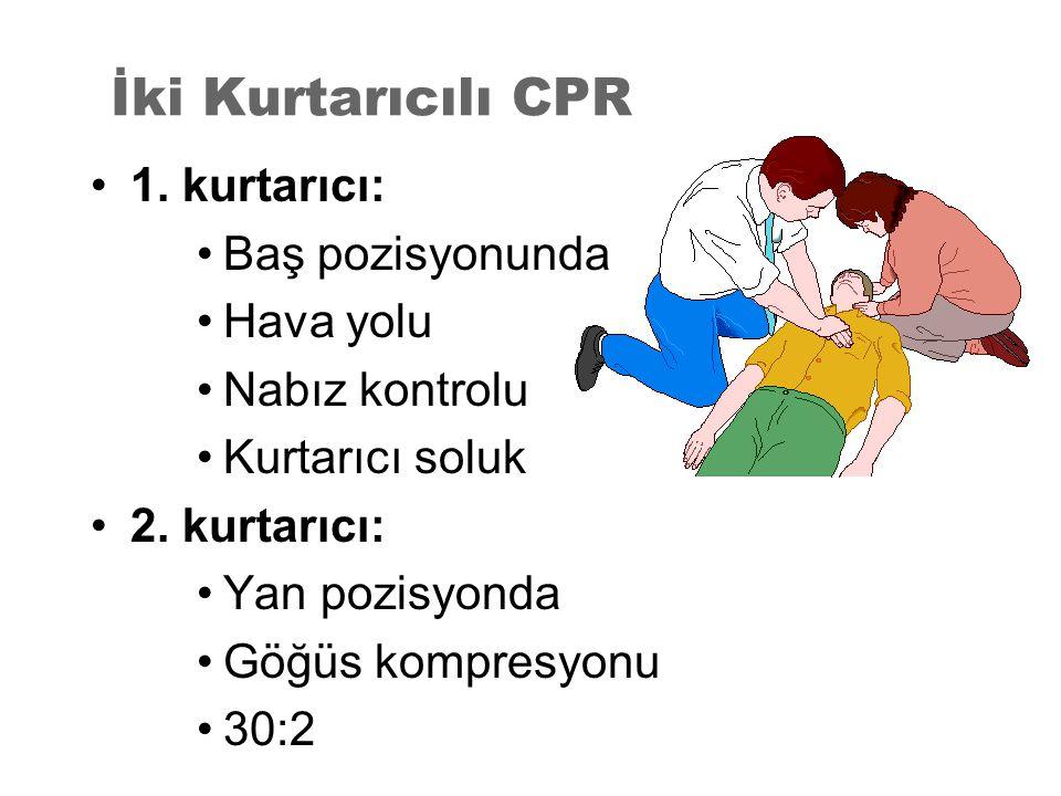 İki Kurtarıcılı CPR 1. kurtarıcı: Baş pozisyonunda Hava yolu Nabız kontrolu Kurtarıcı soluk 2. kurtarıcı: Yan pozisyonda Göğüs kompresyonu 30:2