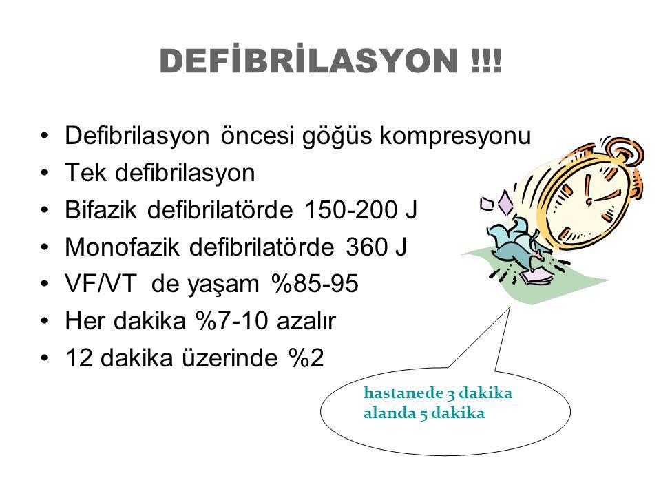 DEFİBRİLASYON !!! Defibrilasyon öncesi göğüs kompresyonu Tek defibrilasyon Bifazik defibrilatörde 150-200 J Monofazik defibrilatörde 360 J VF/VT de ya