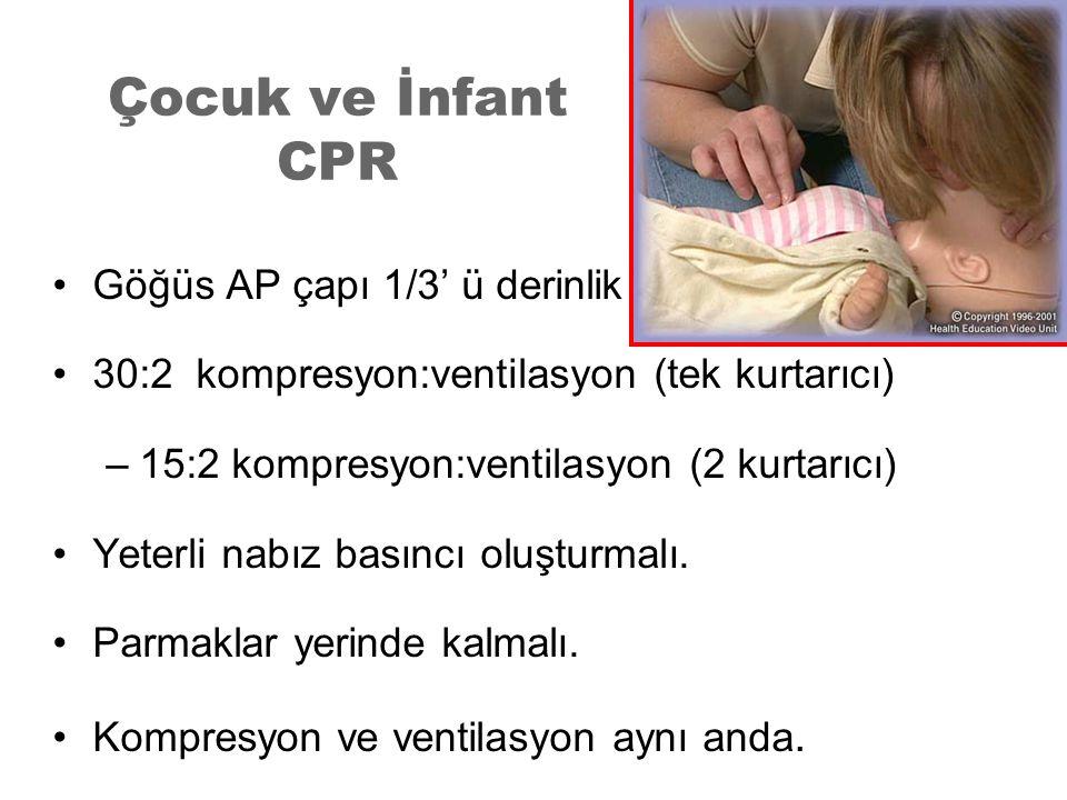 Çocuk ve İnfant CPR Göğüs AP çapı 1/3' ü derinlik 30:2 kompresyon:ventilasyon (tek kurtarıcı) –15:2 kompresyon:ventilasyon (2 kurtarıcı) Yeterli nabız