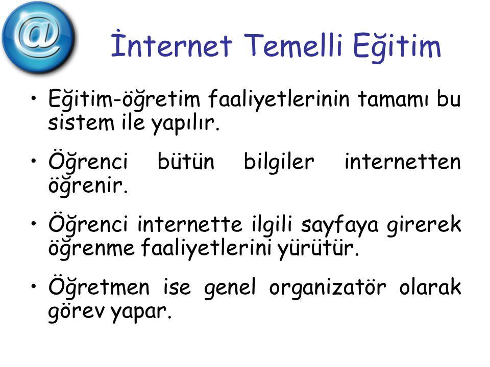 İnternet Temelli Eğitim Eğitim-öğretim faaliyetlerinin tamamı bu sistem ile yapılır. Öğrenci bütün bilgiler internetten öğrenir. Öğrenci internette il