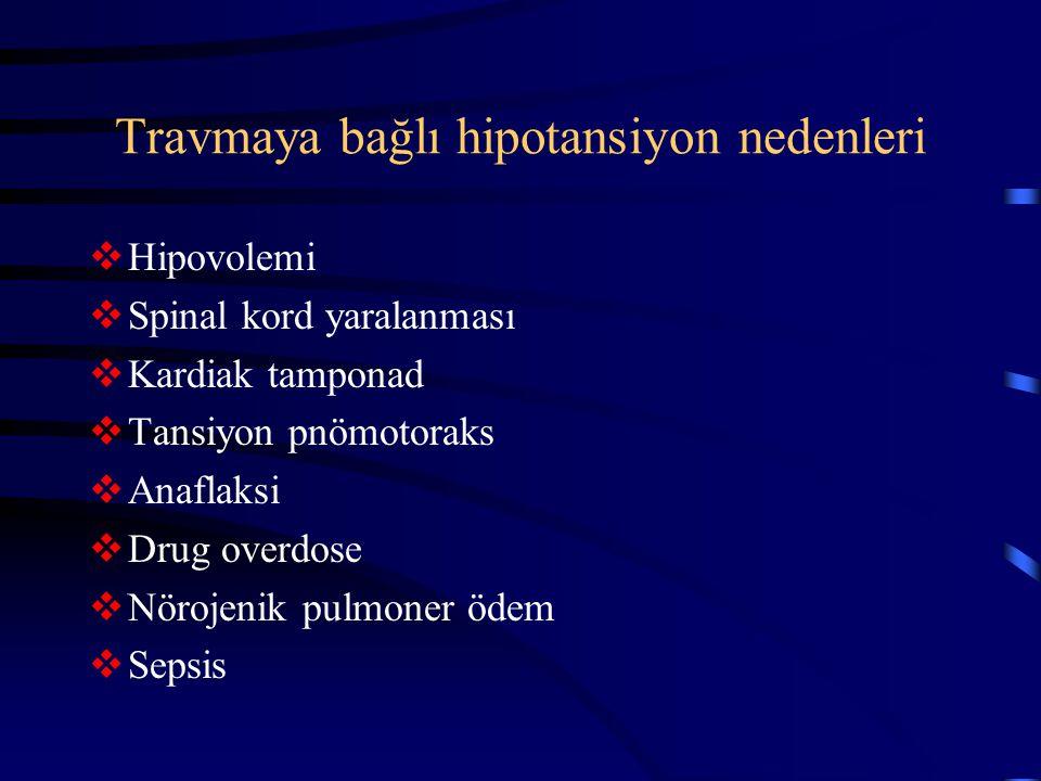 Travmaya bağlı hipotansiyon nedenleri  Hipovolemi  Spinal kord yaralanması  Kardiak tamponad  Tansiyon pnömotoraks  Anaflaksi  Drug overdose  N