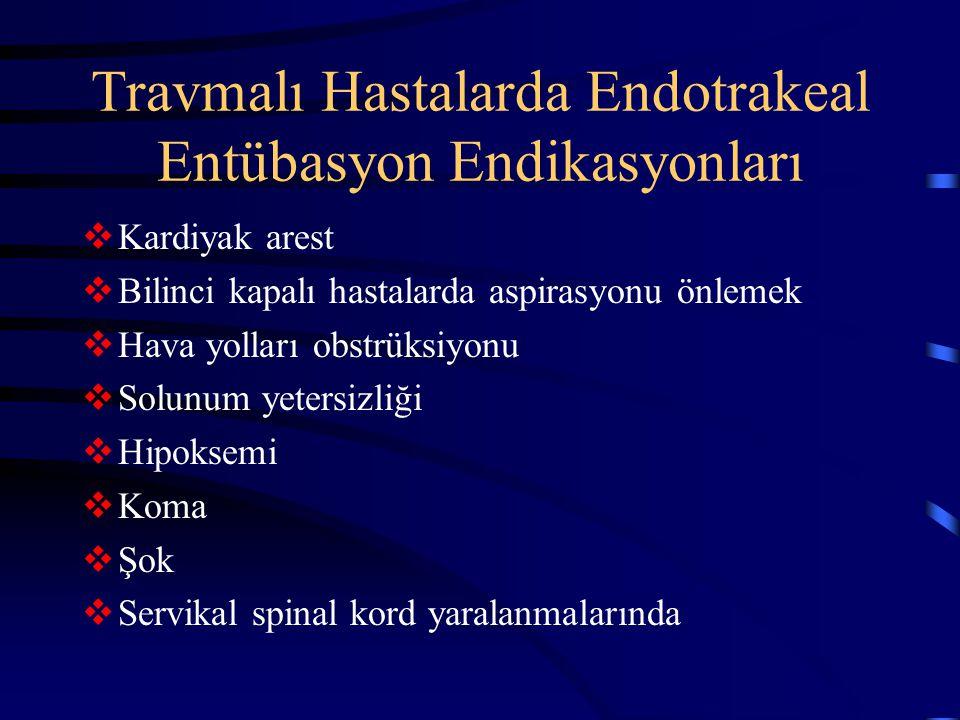 Travmalı Hastalarda Endotrakeal Entübasyon Endikasyonları  Kardiyak arest  Bilinci kapalı hastalarda aspirasyonu önlemek  Hava yolları obstrüksiyon