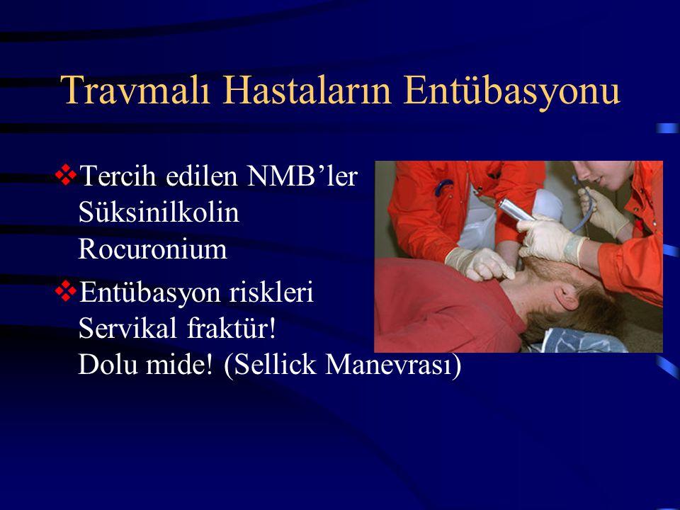 Travmalı Hastaların Entübasyonu  Tercih edilen NMB'ler Süksinilkolin Rocuronium  Entübasyon riskleri Servikal fraktür! Dolu mide! (Sellick Manevrası