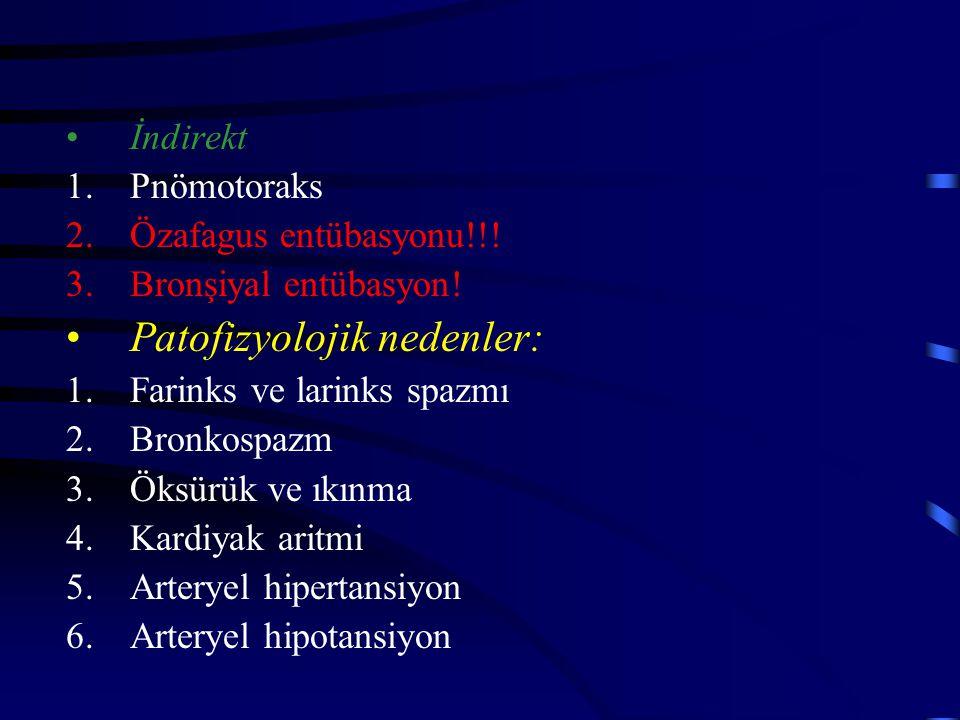 İndirekt 1.Pnömotoraks 2.Özafagus entübasyonu!!! 3.Bronşiyal entübasyon! Patofizyolojik nedenler: 1.Farinks ve larinks spazmı 2.Bronkospazm 3.Öksürük