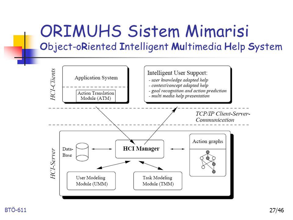 BTÖ-611 27/46 ORIMUHS Sistem Mimarisi Object-oRiented Intelligent Multimedia Help System