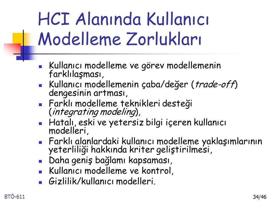 BTÖ-611 34/46 HCI Alanında Kullanıcı Modelleme Zorlukları Kullanıcı modelleme ve görev modellemenin farklılaşması, Kullanıcı modellemenin çaba/değer (