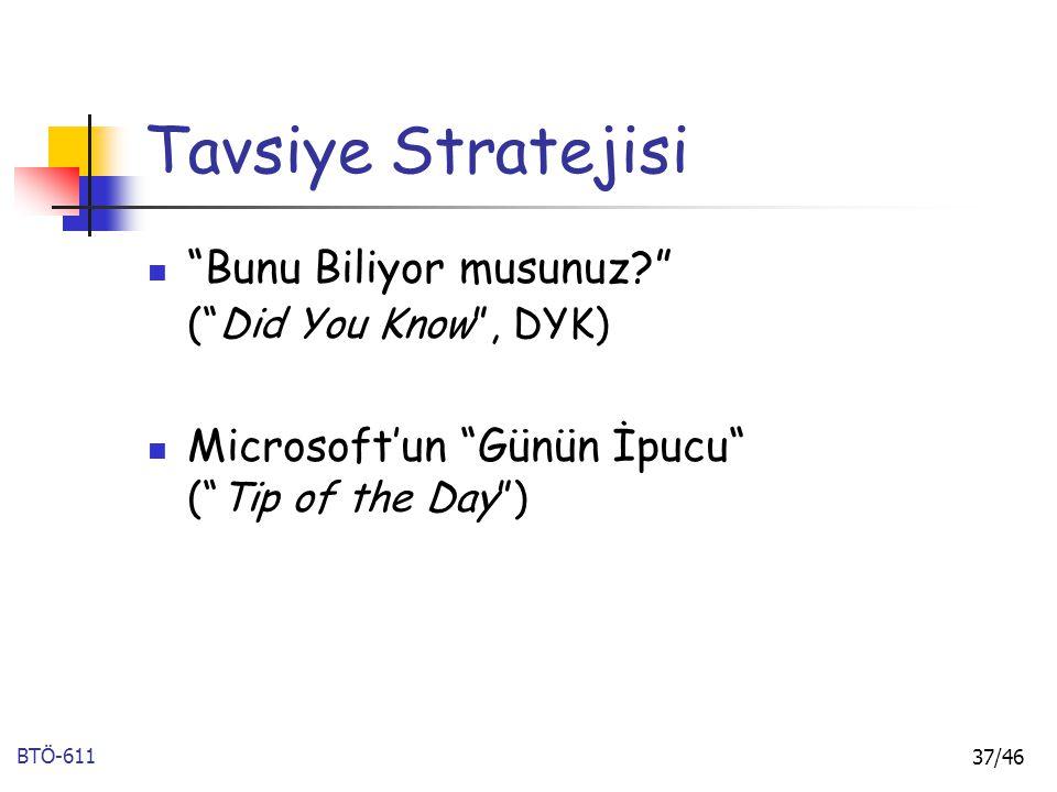 """BTÖ-611 37/46 Tavsiye Stratejisi """"Bunu Biliyor musunuz?"""" (""""Did You Know"""", DYK) Microsoft'un """"Günün İpucu"""" (""""Tip of the Day"""")"""