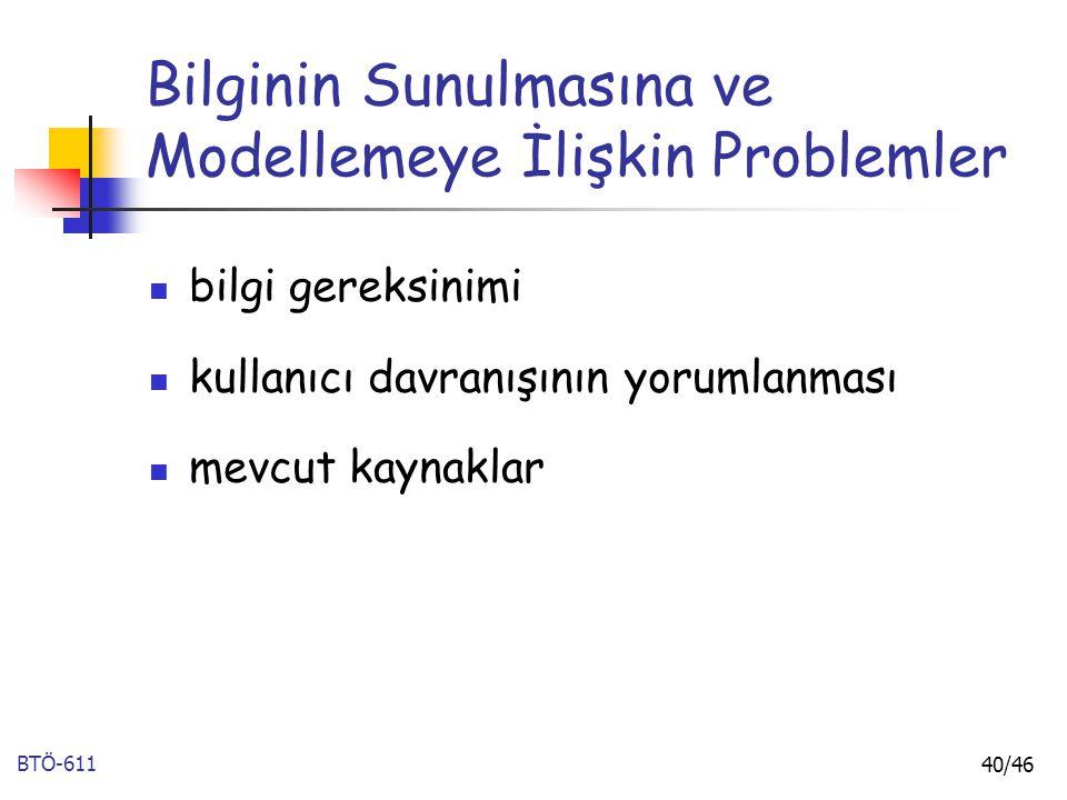 BTÖ-611 40/46 Bilginin Sunulmasına ve Modellemeye İlişkin Problemler bilgi gereksinimi kullanıcı davranışının yorumlanması mevcut kaynaklar