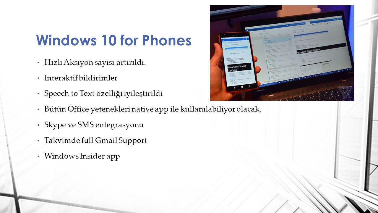 Hızlı Aksiyon sayısı artırıldı. İnteraktif bildirimler Speech to Text özelliği iyileştirildi Bütün Office yetenekleri native app ile kullanılabiliyor