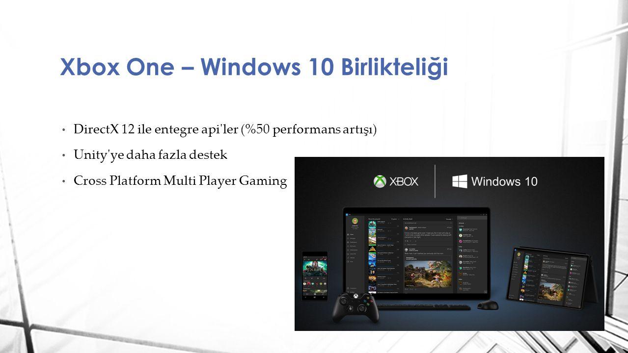 DirectX 12 ile entegre api'ler (%50 performans artışı) Unity'ye daha fazla destek Cross Platform Multi Player Gaming Xbox One – Windows 10 Birlikteliğ