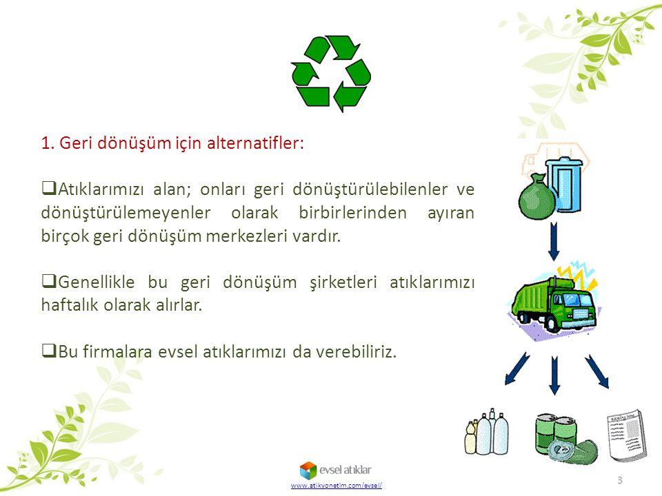 www.atikyonetim.com/evsel/ 3 1. Geri dönüşüm için alternatifler:  Atıklarımızı alan; onları geri dönüştürülebilenler ve dönüştürülemeyenler olarak bi