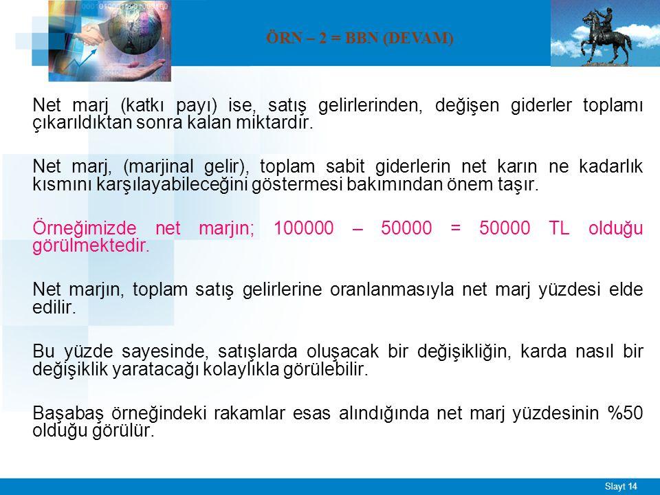 Slayt 14 Net marj (katkı payı) ise, satış gelirlerinden, değişen giderler toplamı çıkarıldıktan sonra kalan miktardır. Net marj, (marjinal gelir), top