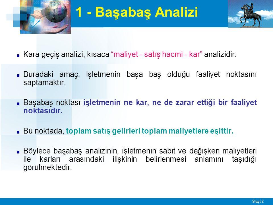 """Slayt 2 1 - Başabaş Analizi ■ Kara geçiş analizi, kısaca """"maliyet - satış hacmi - kar"""" analizidir. ■ Buradaki amaç, işletmenin başa baş olduğu faaliye"""
