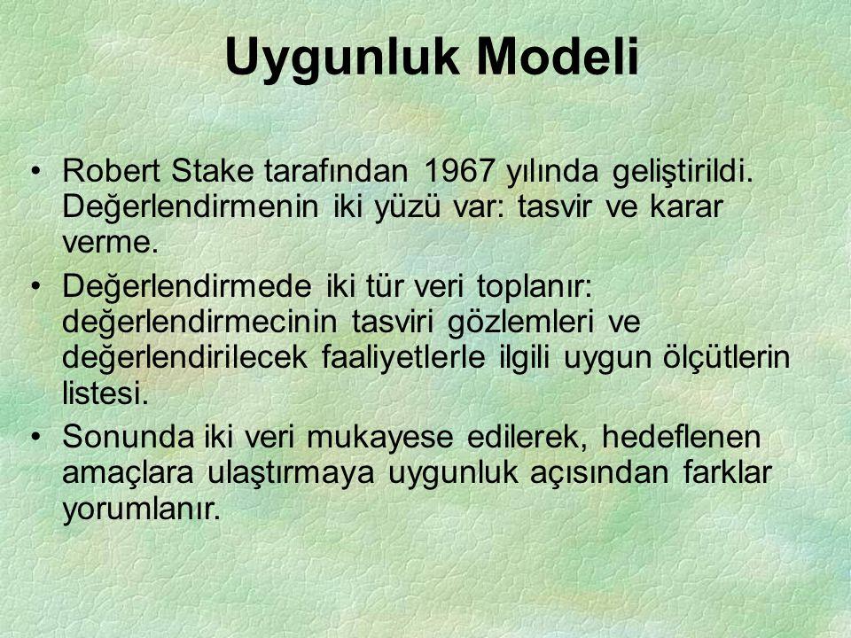 Uygunluk Modeli Robert Stake tarafından 1967 yılında geliştirildi. Değerlendirmenin iki yüzü var: tasvir ve karar verme. Değerlendirmede iki tür veri
