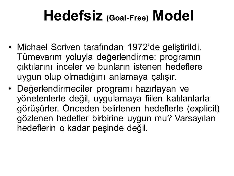 Hedefsiz (Goal-Free) Model Michael Scriven tarafından 1972'de geliştirildi. Tümevarım yoluyla değerlendirme: programın çıktılarını inceler ve bunların