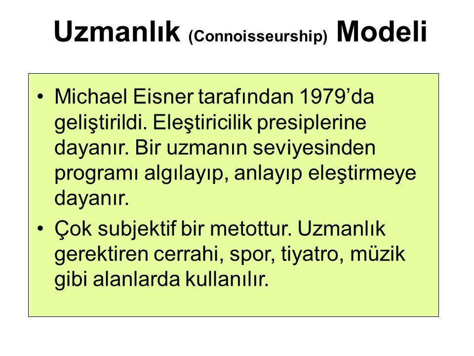 Uzmanlık (Connoisseurship) Modeli Michael Eisner tarafından 1979'da geliştirildi. Eleştiricilik presiplerine dayanır. Bir uzmanın seviyesinden program