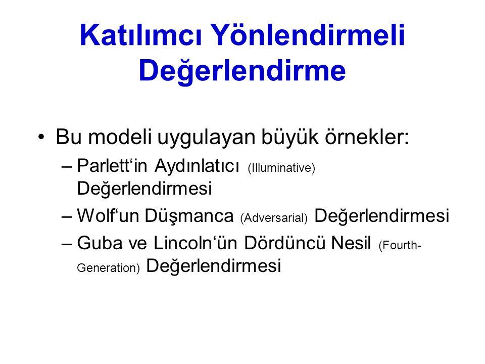 Katılımcı Yönlendirmeli Değerlendirme Bu modeli uygulayan büyük örnekler: –Parlett'in Aydınlatıcı (Illuminative) Değerlendirmesi –Wolf'un Düşmanca (Ad