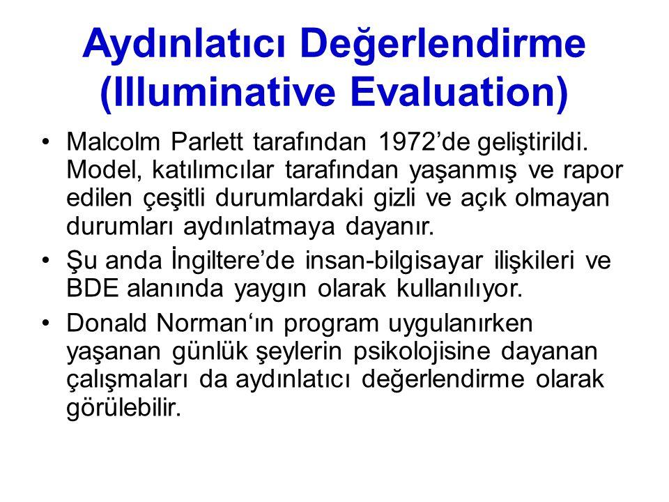 Aydınlatıcı Değerlendirme (Illuminative Evaluation) Malcolm Parlett tarafından 1972'de geliştirildi. Model, katılımcılar tarafından yaşanmış ve rapor