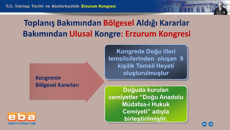 T.C. İnkılap Tarihi ve Atatürkçülük Erzurum Kongresi 8 Toplanış Bakımından Bölgesel Aldığı Kararlar Bakımından Ulusal Kongre: Erzurum Kongresi Kongren