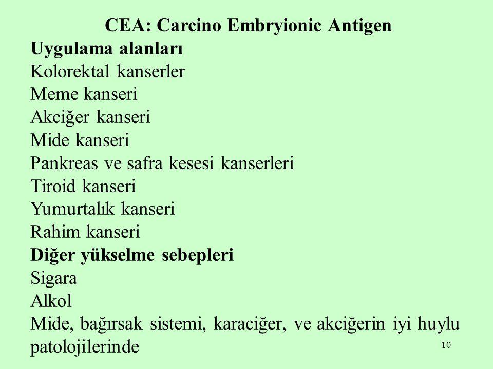 10 CEA: Carcino Embryionic Antigen Uygulama alanları Kolorektal kanserler Meme kanseri Akciğer kanseri Mide kanseri Pankreas ve safra kesesi kanserleri Tiroid kanseri Yumurtalık kanseri Rahim kanseri Diğer yükselme sebepleri Sigara Alkol Mide, bağırsak sistemi, karaciğer, ve akciğerin iyi huylu patolojilerinde
