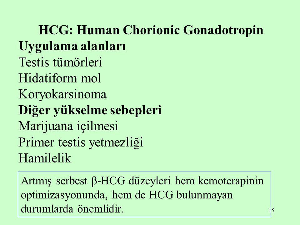 15 HCG: Human Chorionic Gonadotropin Uygulama alanları Testis tümörleri Hidatiform mol Koryokarsinoma Diğer yükselme sebepleri Marijuana içilmesi Primer testis yetmezliği Hamilelik Artmış serbest β-HCG düzeyleri hem kemoterapinin optimizasyonunda, hem de HCG bulunmayan durumlarda önemlidir.