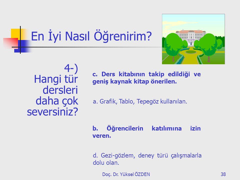 Doç. Dr. Yüksel ÖZDEN38 En İyi Nasıl Öğrenirim? 4-) Hangi tür dersleri daha çok seversiniz? d. Gezi-gözlem, deney türü çalışmalarla dolu olan. b. Öğre