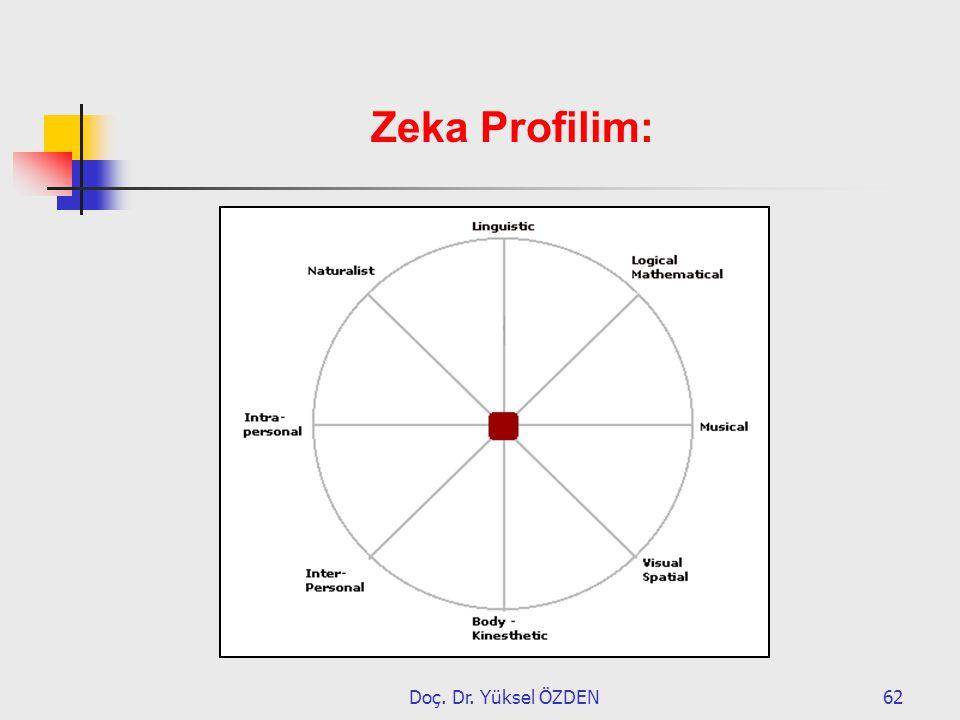 Doç. Dr. Yüksel ÖZDEN62 Zeka Profilim: