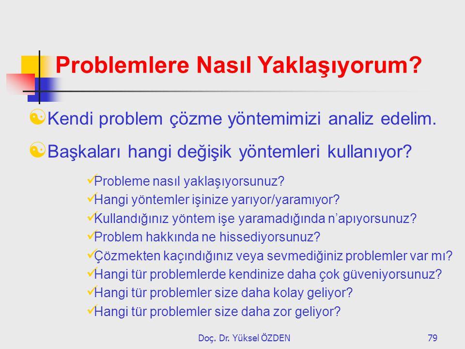 Doç. Dr. Yüksel ÖZDEN79 Problemlere Nasıl Yaklaşıyorum?  Kendi problem çözme yöntemimizi analiz edelim.  Başkaları hangi değişik yöntemleri kullanıy