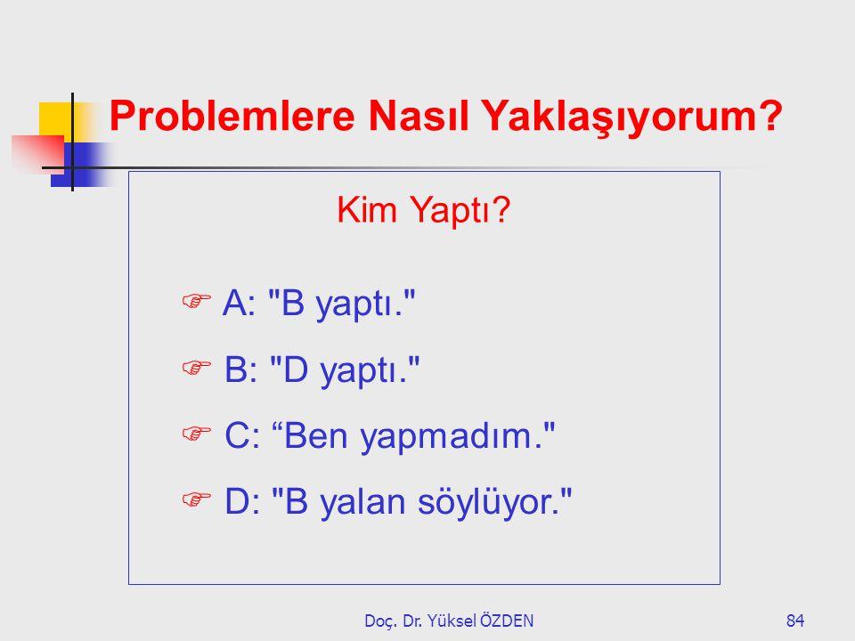 Doç. Dr. Yüksel ÖZDEN84 Problemlere Nasıl Yaklaşıyorum?  A: A: