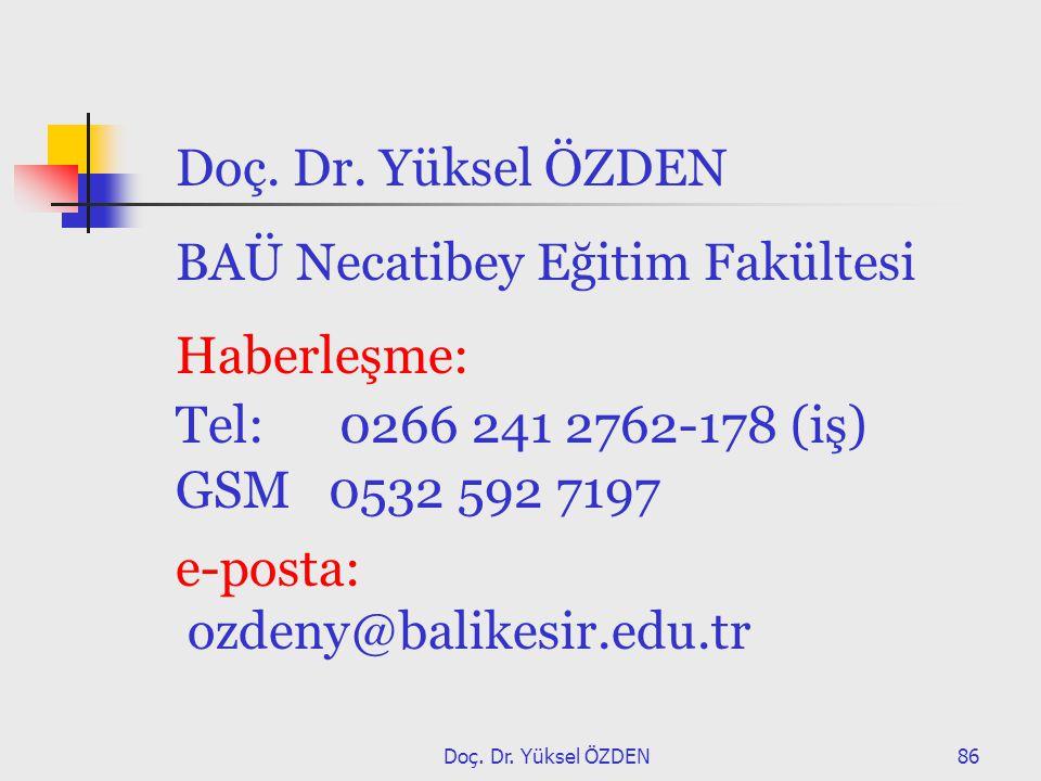 Doç. Dr. Yüksel ÖZDEN86 Doç. Dr. Yüksel ÖZDEN BAÜ Necatibey Eğitim Fakültesi Haberleşme: Tel: 0266 241 2762-178 (iş) GSM 0532 592 7197 e-posta: ozdeny