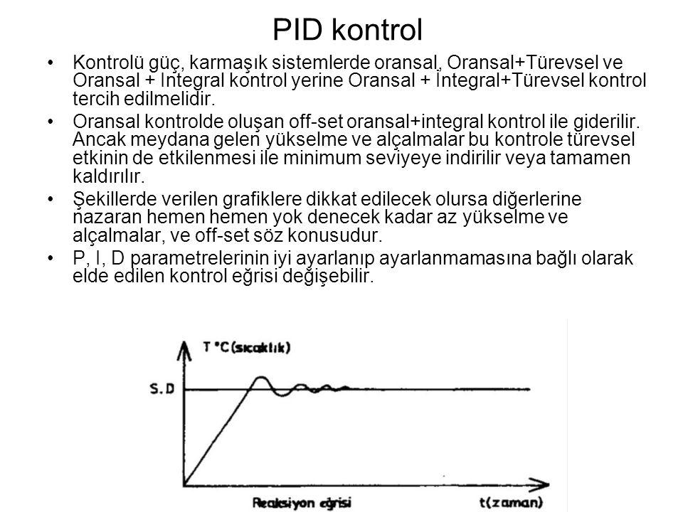 PID kontrol Kontrolü güç, karmaşık sistemlerde oransal, Oransal+Türevsel ve Oransal + Integral kontrol yerine Oransal + İntegral+Türevsel kontrol tercih edilmelidir.