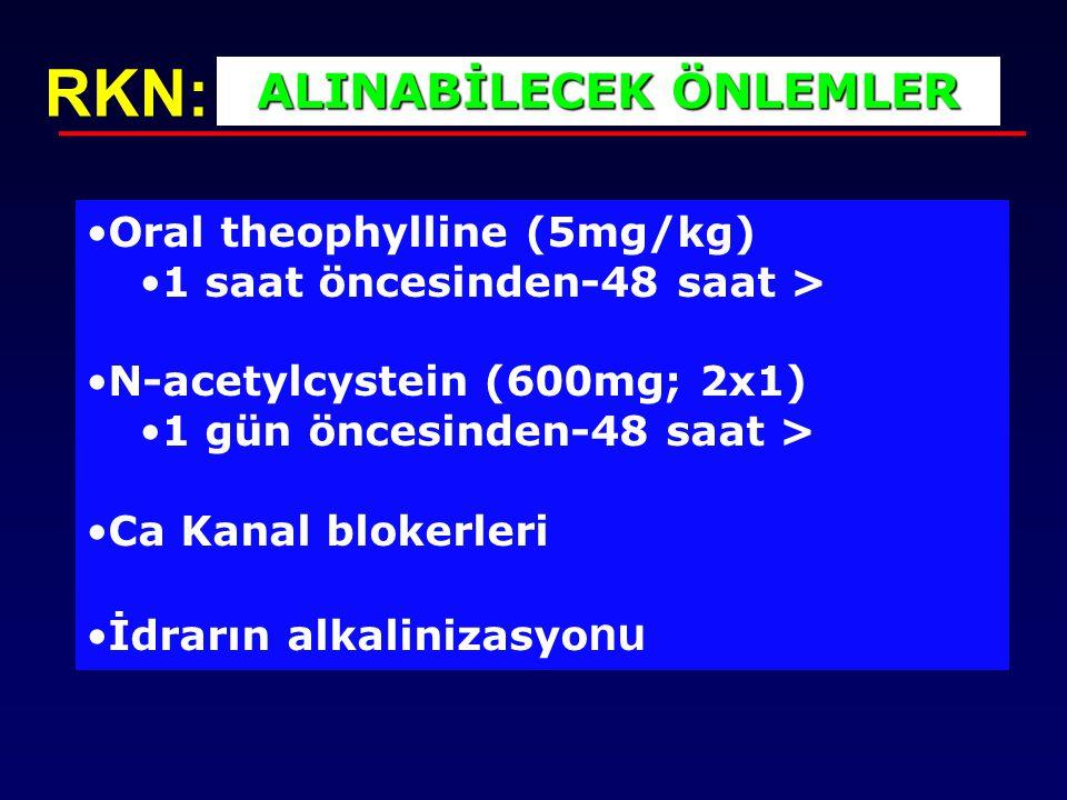 Oral theophylline (5mg/kg) 1 saat öncesinden-48 saat > N-acetylcystein (600mg; 2x1) 1 gün öncesinden-48 saat > Ca Kanal blokerleri İdrarın alkalinizas