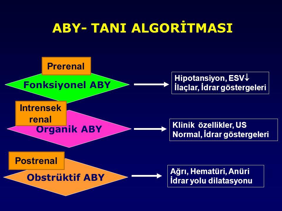 HEPATORENAL SENDROM TANI KRİTERLERİ MAJÖR KRİTERLER 1-Scr >1.5 mg/dl ve/veya GFR <40 ml/dk 2-Şok, Bakteriyel infeksiyon, sıvı kaybı ve nefrotoksik ilaç kullanımı olmaması 3-1,5 L sıvı verilmesine / diüretiklerin Kesilmesine rağmen Scr'nin düşmemesi EK KRİTERLER İdrar volümü <500ml/gün İdrar Na <10 mEq/L İdrar osm>plasma osm Hematüri <50/HPF Serum Na < 130mEq /L