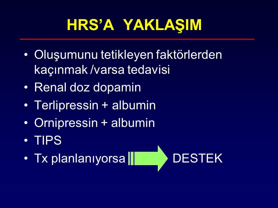 HRS'A YAKLAŞIM Oluşumunu tetikleyen faktörlerden kaçınmak /varsa tedavisi Renal doz dopamin Terlipressin + albumin Ornipressin + albumin TIPS Tx planl