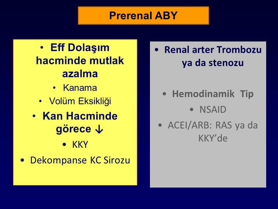 Prerenal ABY Eff Dolaşım hacminde mutlak azalma Kanama Volüm Eksikliği Kan Hacminde görece ↓ KKY Dekompanse KC Sirozu Renal arter Trombozu ya da steno