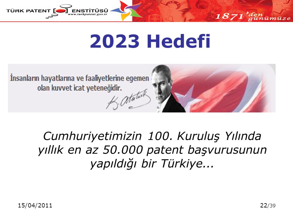 15/04/201122 /39 2023 Hedefi Cumhuriyetimizin 100.