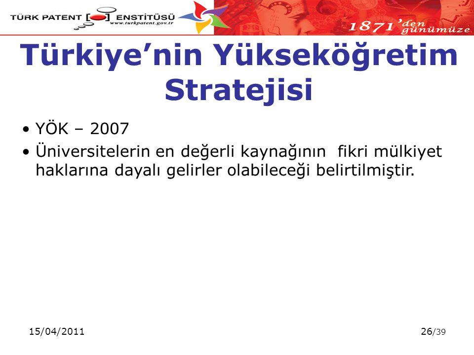 15/04/201126 /39 Türkiye'nin Yükseköğretim Stratejisi YÖK – 2007 Üniversitelerin en değerli kaynağının fikri mülkiyet haklarına dayalı gelirler olabileceği belirtilmiştir.