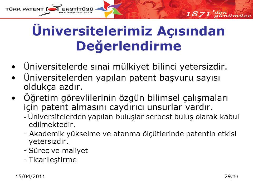 15/04/201129 /39 Üniversitelerimiz Açısından Değerlendirme Üniversitelerde sınai mülkiyet bilinci yetersizdir.