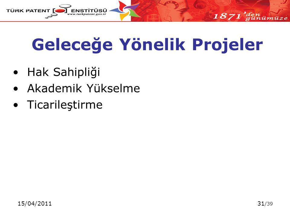 15/04/201131 /39 Geleceğe Yönelik Projeler Hak Sahipliği Akademik Yükselme Ticarileştirme