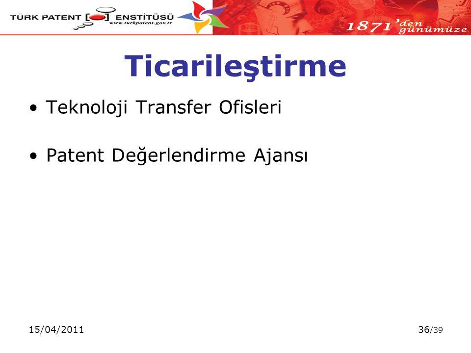 15/04/201136 /39 Ticarileştirme Teknoloji Transfer Ofisleri Patent Değerlendirme Ajansı