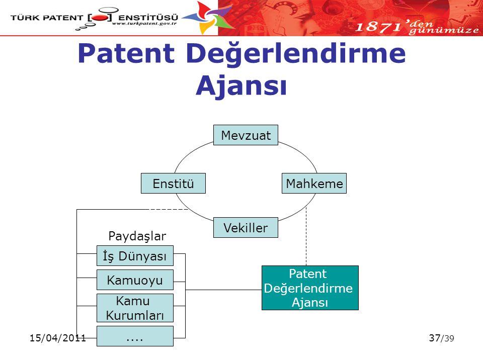 15/04/201137 /39 Patent Değerlendirme Ajansı Mevzuat EnstitüMahkeme Vekiller Paydaşlar İş Dünyası Kamuoyu....