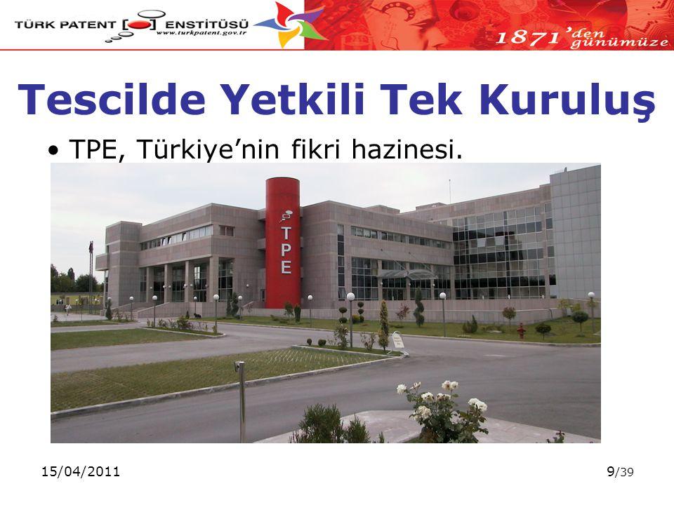 15/04/20119 /39 Tescilde Yetkili Tek Kuruluş TPE, Türkiye'nin fikri hazinesi.