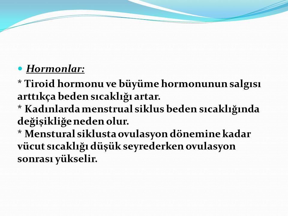 Hormonlar: * Tiroid hormonu ve büyüme hormonunun salgısı arttıkça beden sıcaklığı artar. * Kadınlarda menstrual siklus beden sıcaklığında değişikliğe