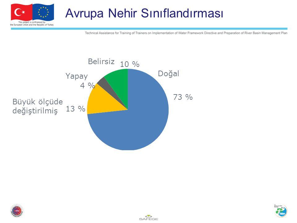 Doğal Yapay Belirsiz Büyük ölçüde değiştirilmiş Avrupa Nehir Sınıflandırması 73 % 10 % 4 % 13 %