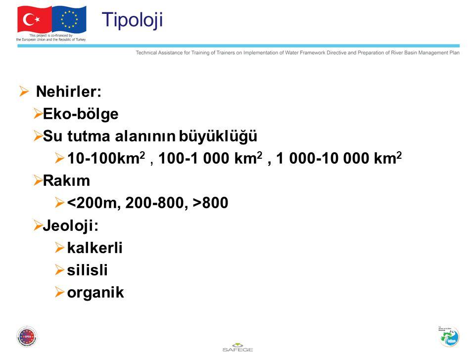 Tipoloji  Nehirler:  Eko-bölge  Su tutma alanının büyüklüğü  10-100km 2, 100-1 000 km 2, 1 000-10 000 km 2  Rakım  800  Jeoloji:  kalkerli  silisli  organik