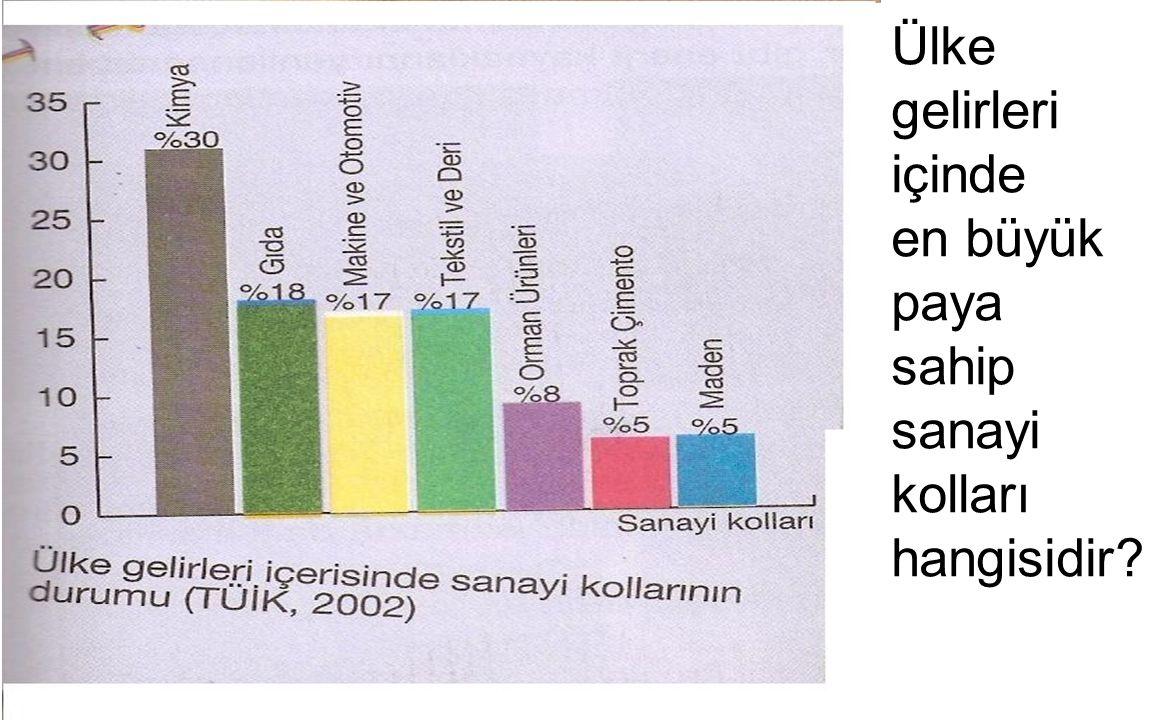 Ülke gelirleri içinde en büyük paya sahip sanayi kolları hangisidir?
